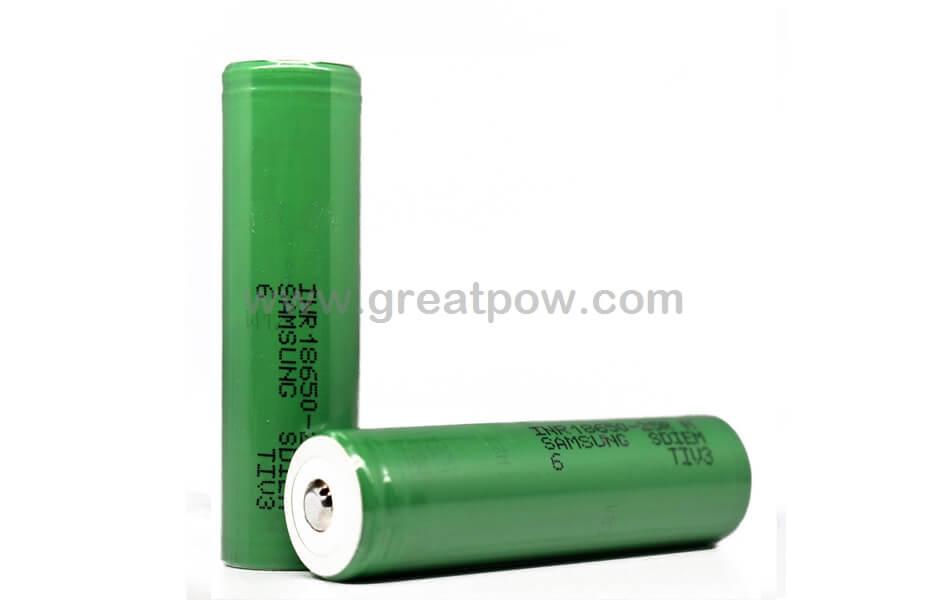 Samsung 25R 18650 2500mAh 20A - Button Top Battery