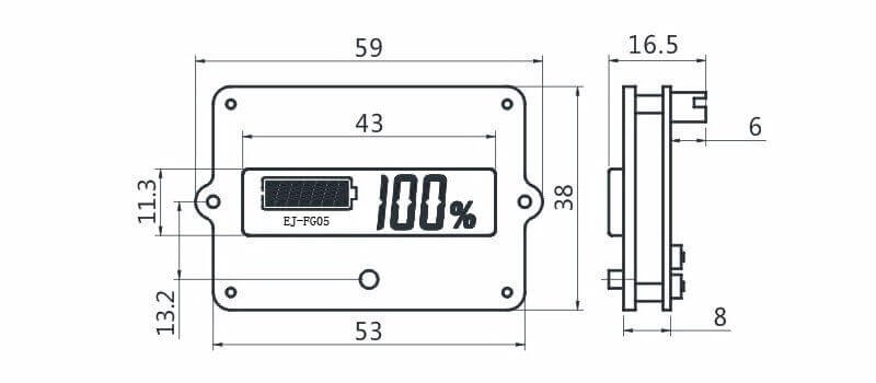 EJ-FG05 battery SOC display Coulometer For LiFePO4 Lithium LiPo Li-Ion Battery 2