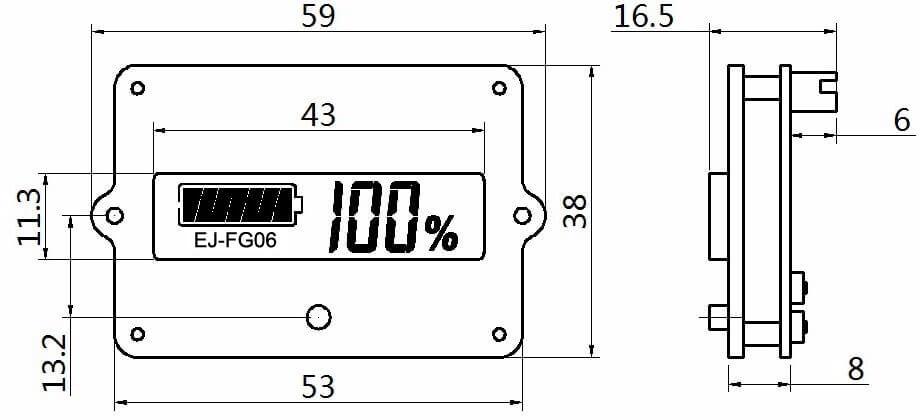 EJ-FG06 battery SOC display dimension