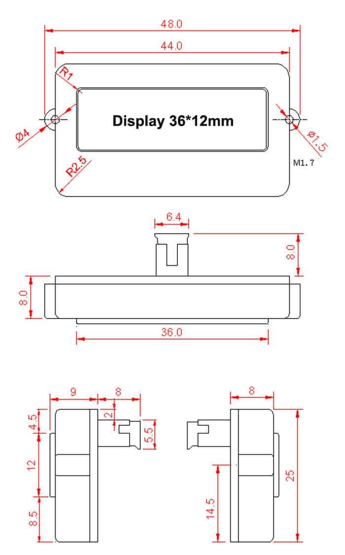 EJ-FG07 battery capacity indicator dimension