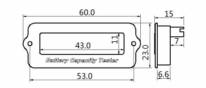 EJ FG08 battery SOC tester Dimension